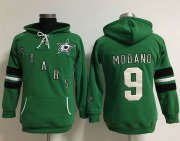 Wholesale Cheap Dallas Stars #9 Mike Modano Green Women's Old Time Heidi NHL Hoodie