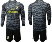 Wholesale Real Madrid Blank Black Goalkeeper Long Sleeves Soccer Club Jersey