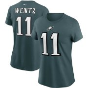 Wholesale Cheap Philadelphia Eagles #11 Carson Wentz Nike Women's Team Player Name & Number T-Shirt Midnight Green