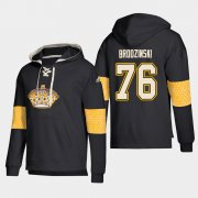 Wholesale Cheap Los Angeles Kings #76 Jonny Brodzinski Black adidas Lace-Up Pullover Hoodie