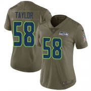 Wholesale Cheap Nike Seahawks #58 Darrell Taylor Olive Women's Stitched NFL Limited 2017 Salute To Service Jersey