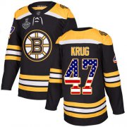 Wholesale Cheap Adidas Bruins #47 Torey Krug Black Home Authentic USA Flag Stanley Cup Final Bound Stitched NHL Jersey