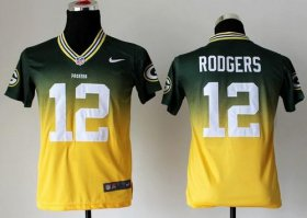 Wholesale Cheap Nike Packers #12 Aaron Rodgers Green/Gold Youth Stitched NFL Elite Fadeaway Fashion Jersey