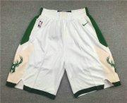 Wholesale Cheap Men's Milwaukee Bucks White Stitched NBA Nike Swingman Shorts
