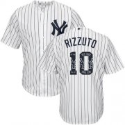 Wholesale Cheap Yankees #10 Phil Rizzuto White Strip Team Logo Fashion Stitched MLB Jersey