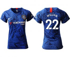 Wholesale Cheap Women\'s Chelsea #22 Willian Home Soccer Club Jersey