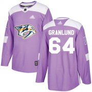 Wholesale Cheap Adidas Predators #64 Mikael Granlund Purple Authentic Fights Cancer Stitched NHL Jersey