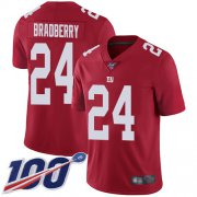 Wholesale Cheap Nike Giants #24 James Bradberry Red Men's Stitched NFL Limited Inverted Legend 100th Season Jersey