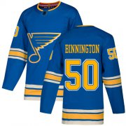 Wholesale Cheap Adidas Blues #50 Jordan Binnington Blue Alternate Authentic Stitched NHL Jersey