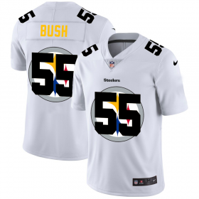 Wholesale Cheap Pittsburgh Steelers #55 Devin Bush White Men\'s Nike Team Logo Dual Overlap Limited NFL Jersey