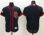 Wholesale Cheap Padres Blank Navy Blue Fashion Stars & Stripes Flexbase Authentic Stitched MLB Jersey