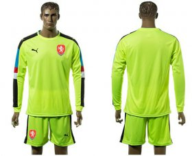 Wholesale Cheap Czech Blank Shiny Green Goalkeeper Long Sleeves Soccer Country Jersey