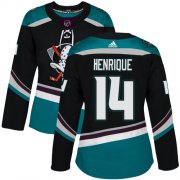 Wholesale Cheap Adidas Ducks #14 Adam Henrique Black/Teal Alternate Authentic Women's Stitched NHL Jersey