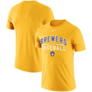 Wholesale Cheap Milwaukee Brewers Nike Practice Performance T-Shirt Gold