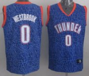 Wholesale Cheap Oklahoma City Thunder #0 Russell Westbrook Blue Leopard Print Fashion Jersey