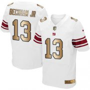 Wholesale Cheap Nike Giants #13 Odell Beckham Jr White Men's Stitched NFL Elite Gold Jersey