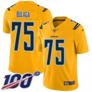 Wholesale Cheap Nike Chargers #75 Bryan Bulaga Gold Youth Stitched NFL Limited Inverted Legend 100th Season Jersey