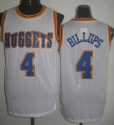 Wholesale Cheap Denver Nuggets #4 Chauncey Billups White Swingman Throwback Jersey
