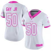 Wholesale Cheap Nike Chiefs #50 Willie Gay Jr. White/Pink Women's Stitched NFL Limited Rush Fashion Jersey