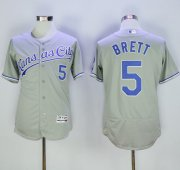 Wholesale Royals #5 George Brett Grey Flexbase Authentic Collection Stitched Baseball Jersey
