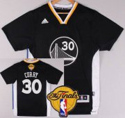 Wholesale Cheap Men's Golden State Warriors #30 Stephen Curry 2015 The Finals New Black Short-Sleeved Jersey