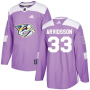 Wholesale Cheap Adidas Predators #33 Viktor Arvidsson Purple Authentic Fights Cancer Stitched Youth NHL Jersey