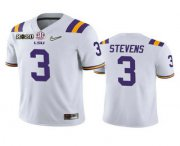 Wholesale Cheap Men's LSU Tigers #3 JaCoby Stevens White 2020 National Championship Game Jersey