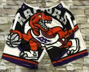 Wholesale Cheap Men's Toronto Raptors White Big Face Mitchell Ness Hardwood Classics Soul Swingman Throwback Shorts