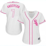 Wholesale Cheap White Sox #7 Tim Anderson White/Pink Fashion Women's Stitched MLB Jersey