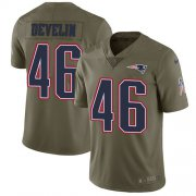 Wholesale Cheap Nike Patriots #46 James Develin Olive Men's Stitched NFL Limited 2017 Salute To Service Jersey