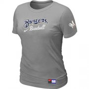 Wholesale Cheap Women's Milwaukee Brewers Nike Short Sleeve Practice MLB T-Shirt Light Grey