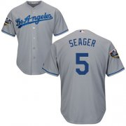 Wholesale Cheap Dodgers #5 Corey Seager Grey Cool Base 2018 World Series Stitched Youth MLB Jersey