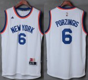 Wholesale Cheap Knicks #6 Kristaps Porzingis New White Stitched NBA Jersey