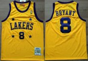 Wholesale Cheap Los Angeles Lakers #8 Kobe Bryant Yellow With Purple Star Swingman Throwback Jersey
