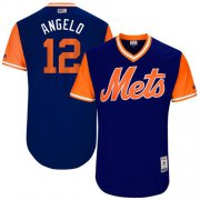 "Wholesale Cheap Mets #12 Juan Lagares Royal ""Angelo"" Players Weekend Authentic Stitched MLB Jersey"