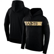 Wholesale Cheap Men's New Orleans Saints Nike Black Sideline Team Performance Pullover Hoodie