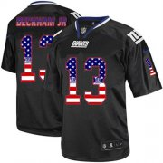 Wholesale Cheap Nike Giants #13 Odell Beckham Jr Black Men's Stitched NFL Elite USA Flag Fashion Jersey