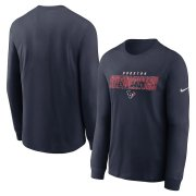 Wholesale Cheap Houston Texans Nike Fan Gear Playbook Long Sleeve T-Shirt Navy