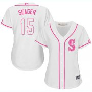Wholesale Cheap Mariners #15 Kyle Seager White/Pink Fashion Women's Stitched MLB Jersey