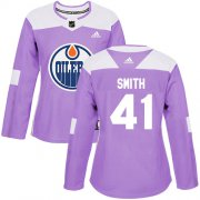 Wholesale Cheap Adidas Oilers #41 Mike Smith Purple Authentic Fights Cancer Women's Stitched NHL Jersey