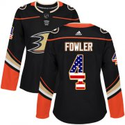 Wholesale Cheap Adidas Ducks #4 Cam Fowler Black Home Authentic USA Flag Women's Stitched NHL Jersey