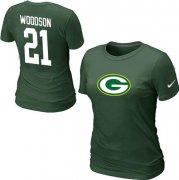 Wholesale Cheap Women's Nike Green Bay Packers #21 Charles Woodson Name & Number T-Shirt Green