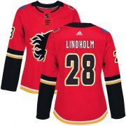 Wholesale Cheap Adidas Flames #28 Elias Lindholm Red Home Authentic Women's Stitched NHL Jersey