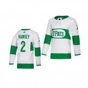 Wholesale Cheap Adidas Maple Leafs #2 Ron Hainsey White 2019 St. Patrick's Day Authentic Player Stitched Youth NHL Jersey