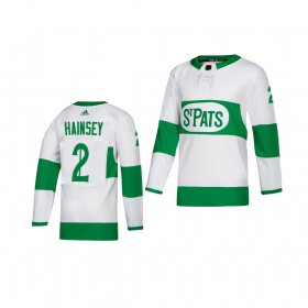 Wholesale Cheap Adidas Maple Leafs #2 Ron Hainsey White 2019 St. Patrick\'s Day Authentic Player Stitched Youth NHL Jersey
