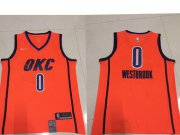 Wholesale Cheap Men's Oklahoma City Thunder #0 Russell Westbrook Nike Orange 2018-19 Swingman Earned Edition Jersey