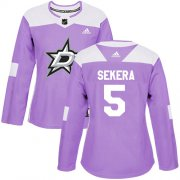 Cheap Adidas Stars #5 Andrej Sekera Purple Authentic Fights Cancer Women's Stitched NHL Jersey