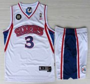 Wholesale Cheap Philadelphia 76ers #3 Allen Iverson White 10th Throwback Soul Swingman NBA Jersey Short Suits