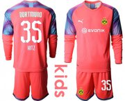 Wholesale Cheap Dortmund #35 Hitz Pink Goalkeeper Long Sleeves Kid Soccer Club Jersey