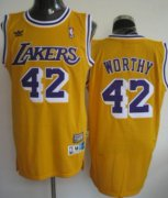 Wholesale Cheap Los Angeles Lakers #42 James Worthy Yellow Swingman Throwback Jersey